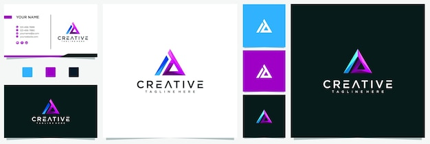 Ad letter logo design with creative modern trendy typography multiple color and business card premium. ad tech logo inspirations
