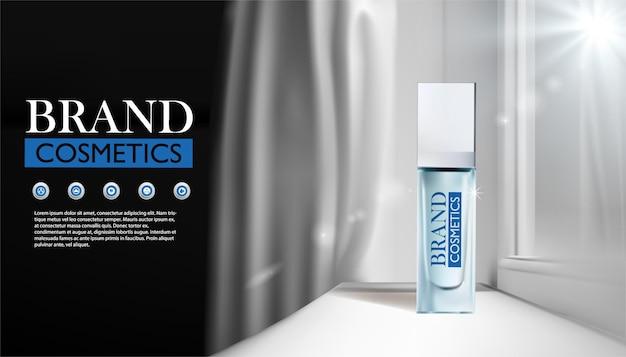 窓からの太陽光で美容製品のボトルの広告テンプレート