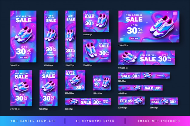 Ad web banner shoe sale with abstract gradient background and all standart size template