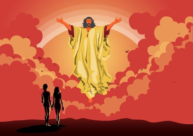 Иллюстрация адама и евы с богом