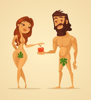 Adam and eve characters. woman offer apple to man.