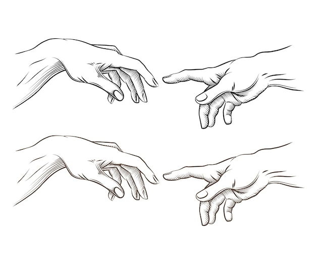 아담의 손과 하나님의 손은 창조와 같습니다. 희망과 도움, 지원 및 지원 종교, 벡터 일러스트 레이션