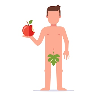 Адам откусил яблоко и совершил грех. история из ветхого завета. плоские векторные иллюстрации.