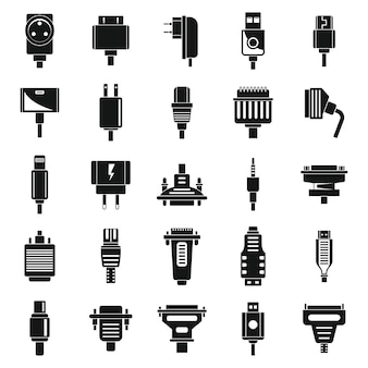 Adapter cable icons set