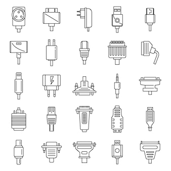 Adapter connector icons set