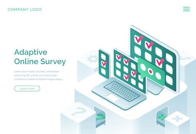 Adaptive online survey isometric landing page