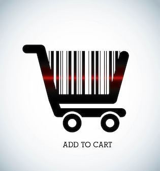 Add to cart over gray  background vector illustration