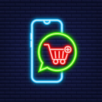 Add to cart icon. neon icon. shopping cart icon. vector illustration.