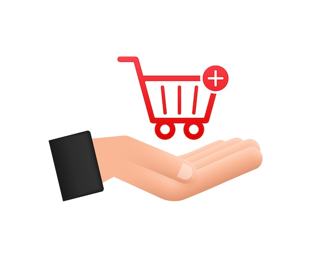 Add to cart icon with hands. shopping cart icon. vector illustration.