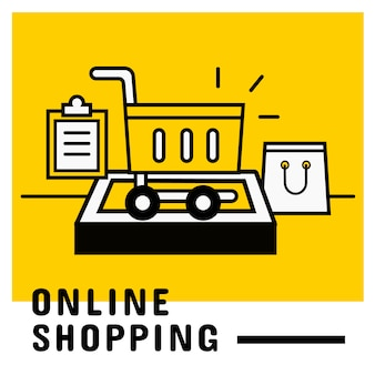 Add to cart on mobile, online shopping concept