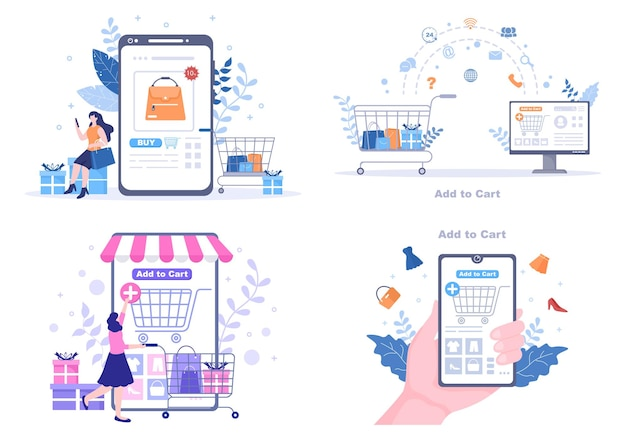Add to cart vector illustration