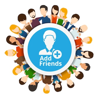 Add friends to social network. community internet, web friendship illustration