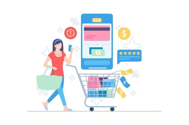 Добавляйте товары в корзину при совершении покупок в интернете векторная иллюстрация