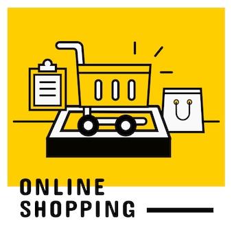 모바일, 온라인 쇼핑 컨셉에 장바구니에 담기