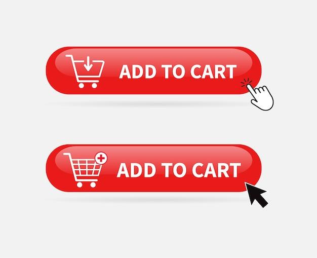 장바구니에 담기. 쇼핑 카트. 손으로 클릭합니다.