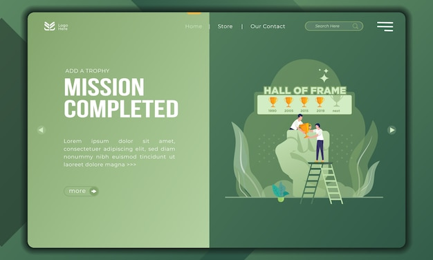 Add the next trophy, mission completed on flat illustration