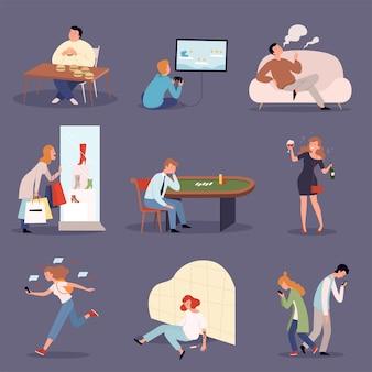 Зависимые люди. проблемный образ жизни одурманенные людьми казино-геймеры и алкоголики векторные иллюстрации набор