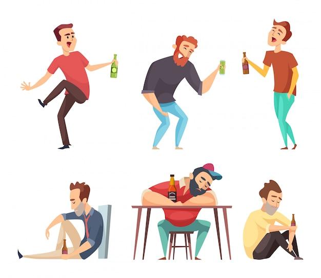 중독 알콜 중독. 사람들의 알코올 중독과 마약 마시는 사람 맥주 보드카 위스키 남용 문자 격리 중독자
