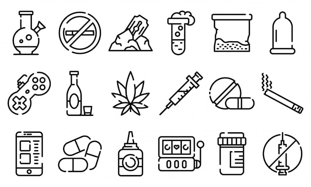 Addiction icons set, outline style