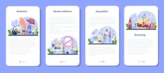 Addiction mobile application banner set
