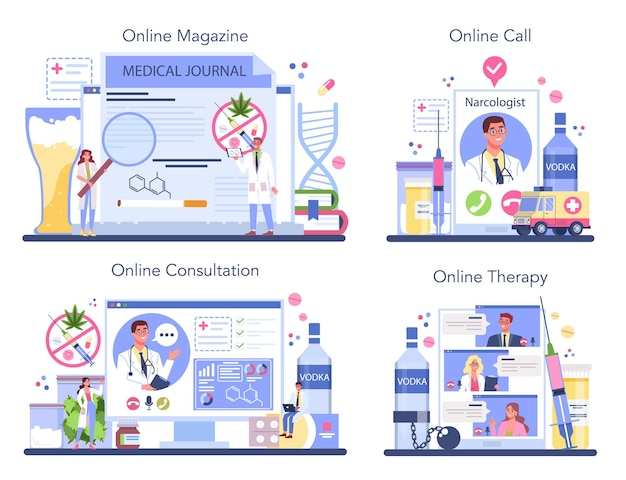 Addiction online service or platform set