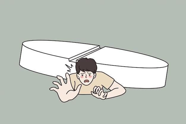 마약 및 건강 관리 개념에 대한 중독. 거대한 흰색 알약 치료 벡터 삽화에 짓눌린 바닥에 누워 있는 스트레스를 받은 젊은이
