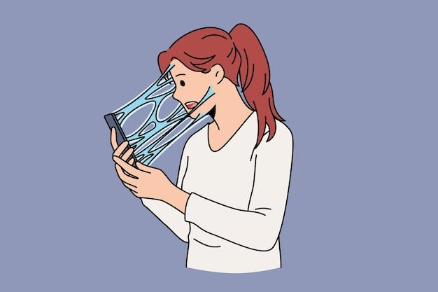 インターネットと電話の概念への中毒。若い強調された女性の漫画のキャラクターの立っている感じは、液体のベクトル図でスクリーン電話に接続されています