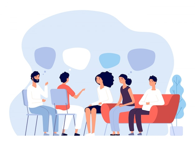Addiction treatment concept. group therapy, people counseling with psychologist, persons in psychotherapist sessions. vector image