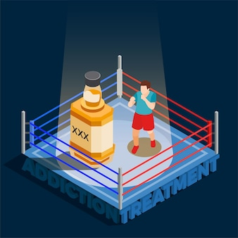 Addiction treatment isometric composition with man during boxing with bottle of alcohol