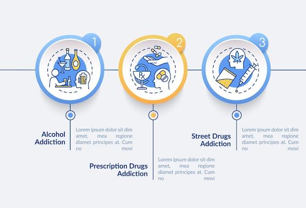 Инфографический шаблон типов наркомании. элементы дизайна схемы презентации алкогольной зависимости.