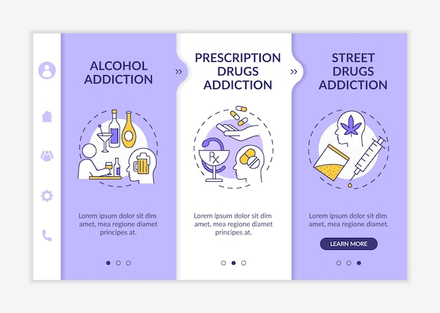 Addiction types onboarding vector template. responsive mobile website with icons. web page walkthrough 3 step screens. alcohol drinking addiction color concept with linear illustrations