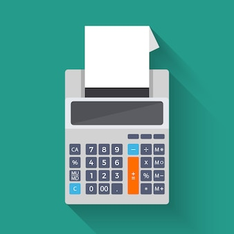 Adding counting machine, vector flat illustration of calculator