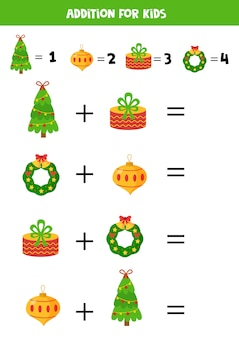 Addition game with cartoon christmas elements. christmas tree, present, ball, wreath.