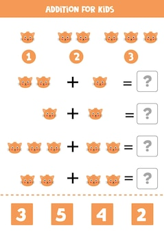 Addition game with cute cartoon cat face. math game for kids.
