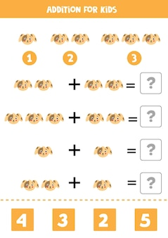 Addition game with cute cartoon dog face. math game for kids.