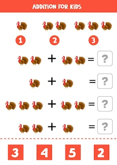 Addition game with cute cartoon turkey. math game for kids.