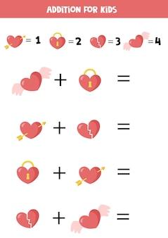 子供のための異なるバレンタインハート数学ワークシートを使用した加算ゲーム