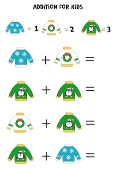 Addition for kids with cartoon christmas ugly sweaters.