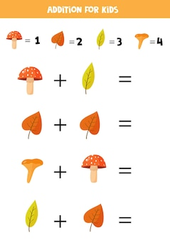 Addition for kids with cute autumn leaves and mushrooms.