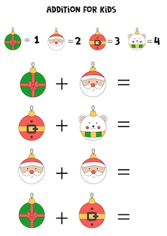 Addition for kids with cute cartoon christmas balls.