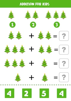 Addition for kids with cute christmas trees. educational math game for kids.