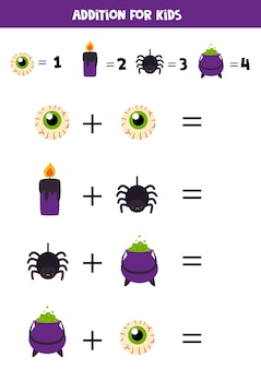 Addition for kids with cute halloween elements.