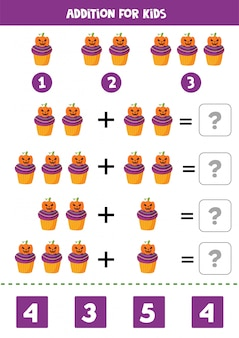 Addition math game with cute cartoon halloween cupcake.
