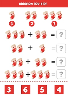 Добавление мультяшного рождественского носка обучающая математическая игра для детей