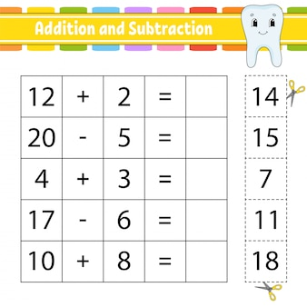 Addition and subtraction. task for kids. cut and paste. education developing worksheet.
