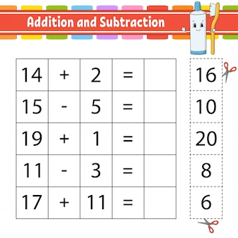 Addition and subtraction. task for kids. cut and paste.