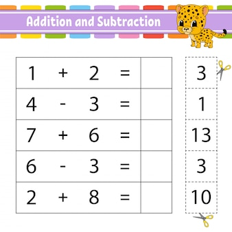 Addition and subtraction. task for kids. education developing worksheet.