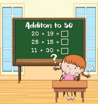 Addition to fifty on board in classroom