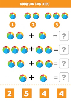 Addition with colorful toy balls. educational math game for kids. learning to solve equations. home education.
