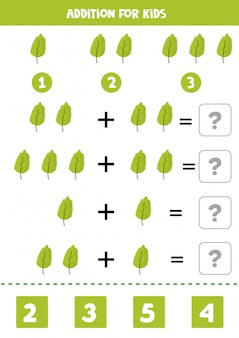 Addition with cute green leaves. game for kids.